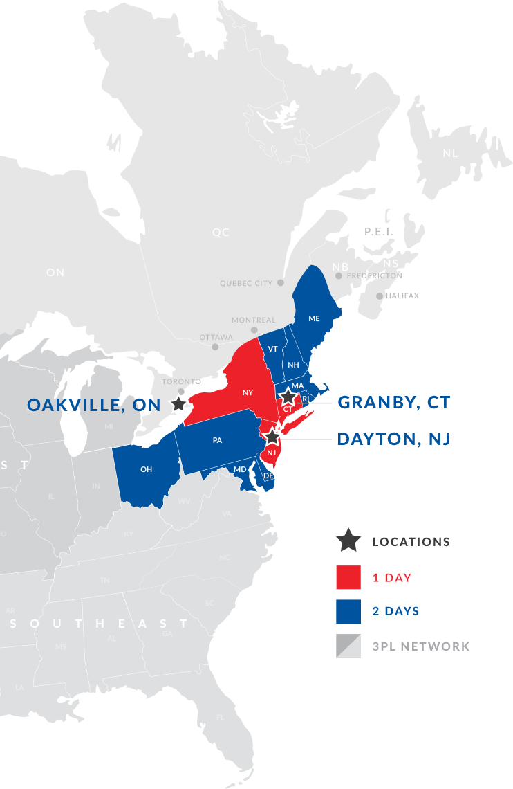 Map of Canada and the USA with northeastern USA blue and red